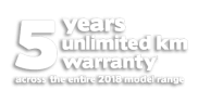 5 years unlimited km warranty across the entire 2018 model range