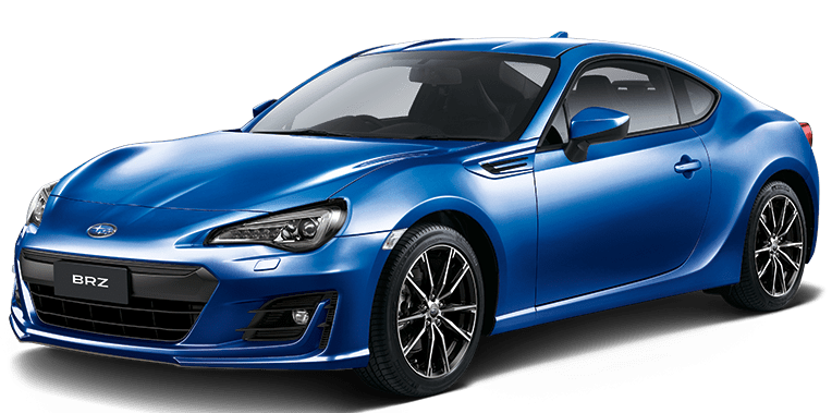 the front left view of a blue subaru brz