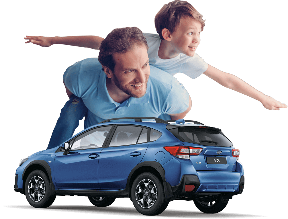 a blue xv car model facing lower left side with a background of a father carrying his son in his back