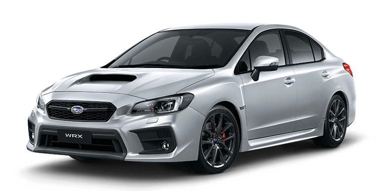 the left front view of a silver subaru WRX