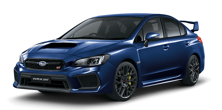 the front left view of a blue navy subaru WRX sti