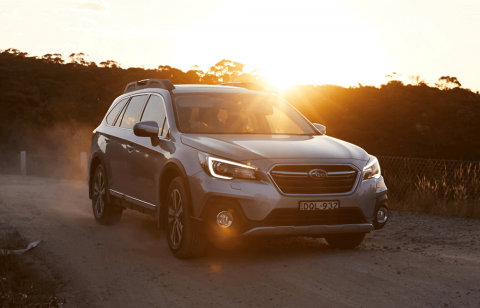subaru outback 2020 with sunset